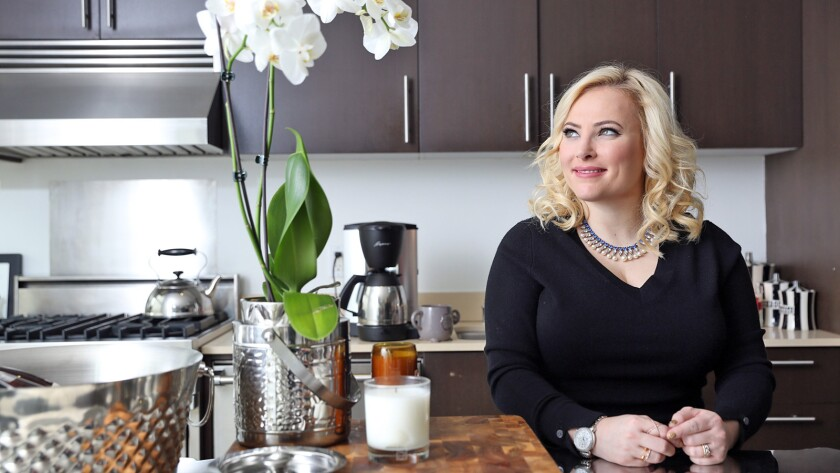 """I'm not very domestic,"" says Meghan McCain, in her Hollywood loft kitchen. ""All I have in the refrigerator is ketchup."""