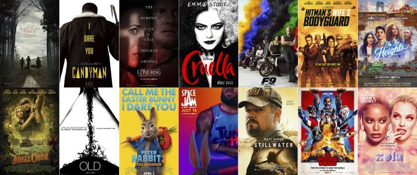 """En esta combinación de fotos, los pósters de algunas de las películas que se estrenarán este verano en Estados Unidos: """"A Quiet Place Part II"""", """"Candyman"""", """"The Conjuring: The Devil Made Me Do It"""", """"Cruella"""", """"F9"""", """"The Hitman's Wife's Bodyguard"""", """"In the Heights"""", """"Jungle Cruise"""", """"Old"""", """"Peter Rabbit 2: The Runaway"""", """"Space Jam: A New Legacy"""", """"Stillwater"""", """"The Suicide Squad"""" y """"Zola"""". (Arriba, de izquierda a derecha, Paramount Pictures/Universal Pictures/Warner Bros. Pictures/Disney/Universal Pictures/Lionsgate/Warner Bros.; abajo, Disney, Universal/Sony Pictures/Warner Bros./Focus Features/Warner Bros./A24 vía AP)"""