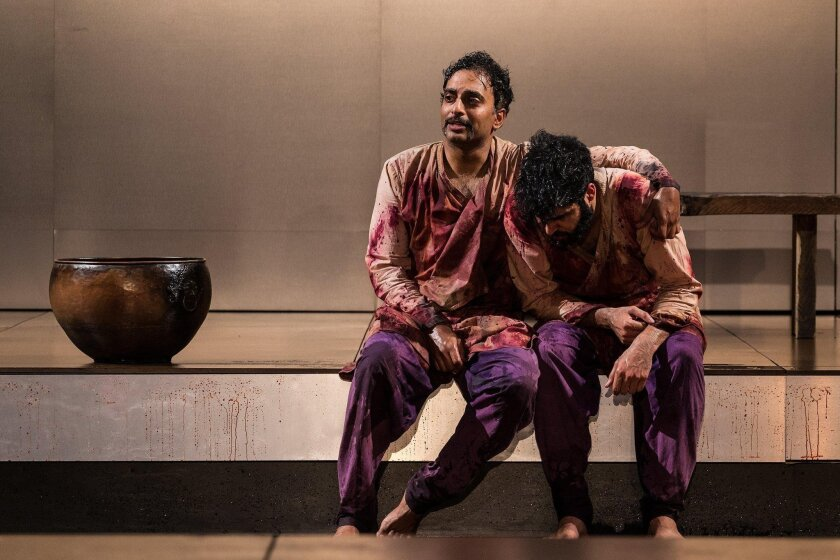 """Manu Narayan (left) and Babak Tafti in La Jolla Playhouse's production of """"Guards at the Taj,"""" by Rajiv Joseph, directed by Jaime Castañeda, running Feb 2 to 28 in the Sheila and Hughes Potiker Theatre. Jim Carmody photo."""