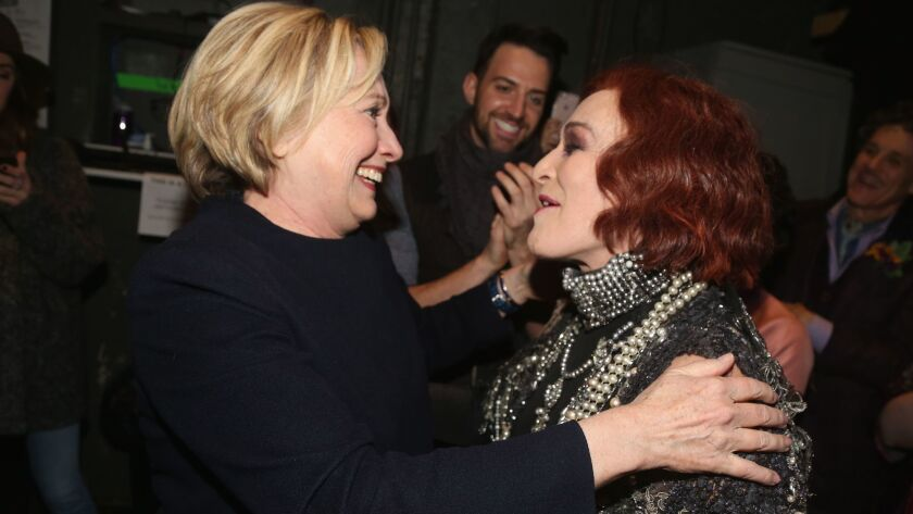 "Hillary Clinton and ""Sunset Boulevard"" star Glenn Close backstage at the Palace Theater in New York"