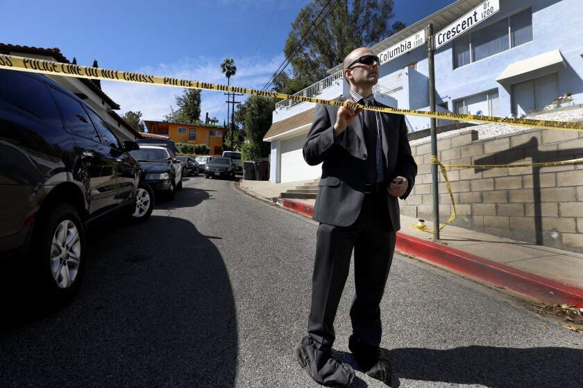 GLENDALE, CA APRIL 18, 2019: Investigating a triple homicide Glendale Police Sergeant A. Krikorian