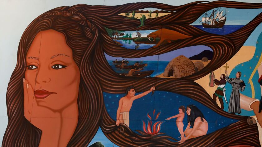 """LOS ANGELES, CA-SEPTEMBER 27, 2017: Photograph shows a portion of Barbara Carrasco's famed mural, """""""