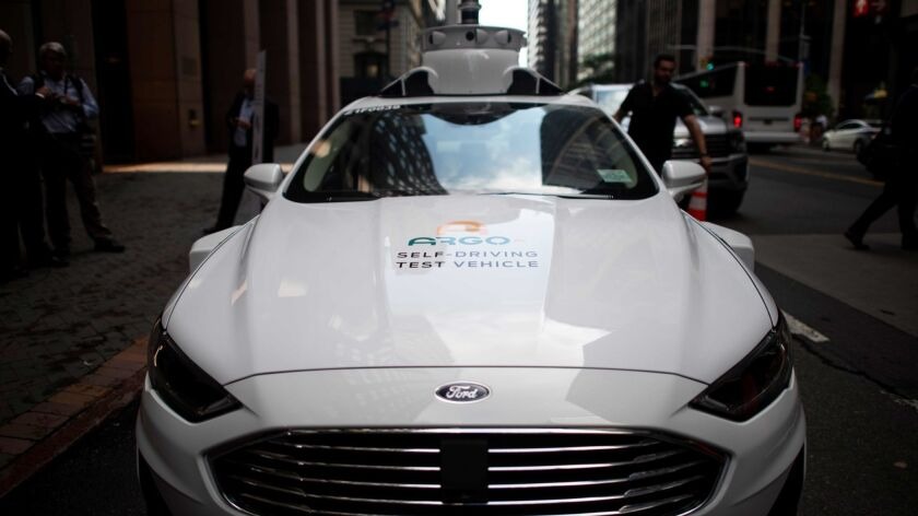 A self-driving test vehicle from the Pittsburgh start-up Argo AI. Volkswagen said it will invest $2.6 billion in the company as part of an autonomous vehicle partnership with Ford.