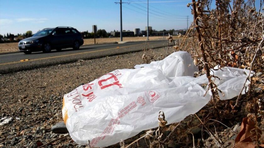A plastic bag along a roadside in Sacramento.