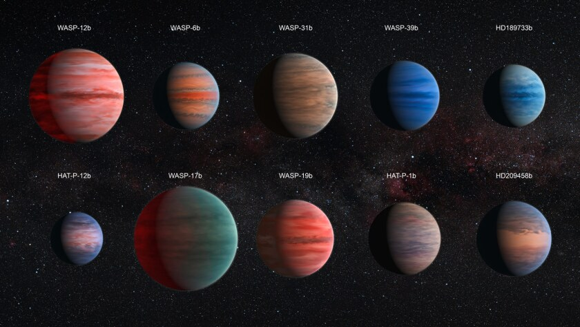 An artist's impression of the 10 hot Jupiter exoplanets shows the diversity of gas giants studied using the Hubble and Spitzer space telescopes.