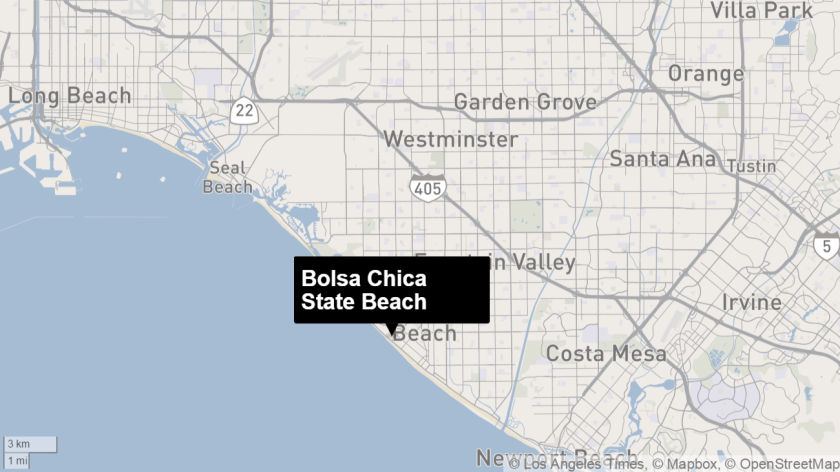 Map shows approximate location of Bolsa Chica State Beach.