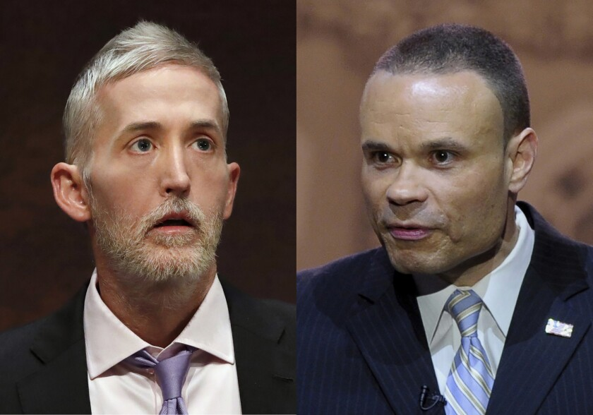 This combination of photos shows then Rep. Trey Gowdy, R-S.C., on Capitol Hill in Washington on June 19, 2018, left, and Conservative commentator Dan Bongino speaks at the Conservative Political Action Committee annual conference in National Harbor, Md., on March 6, 2014. Gowdy will begin hosting a 7 p.m. Eastern show on Fox News Channelon Sundays and Bongino will be getting a weekly Saturday night program on the network starting June 5. (AP Photo)
