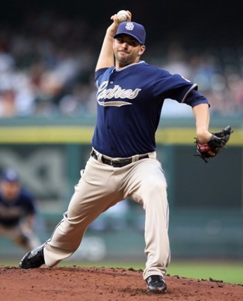 Justin Germano continued a string of bad games by Padres starters when he was chased from the mound in the fourth inning Monday night in Houston. He gave up 10 runs on 10 hits, making it his worst outing in 33 career starts. AP Photo/Bob Levey