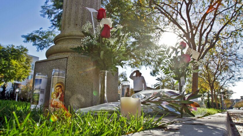 A memorial for Reginald Doucet sits not far from where he was fatally shot by a Los Angeles police officer in January 2011.