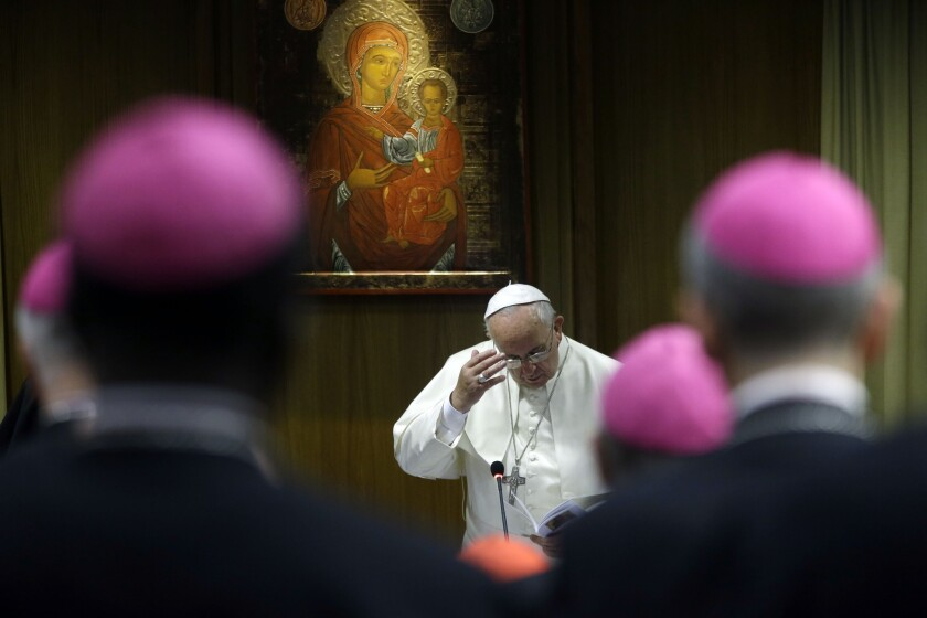 Pope Francis, seen at a synod meeting on Monday, insisted that the full synod document be published with the vote tally in the name of transparency.