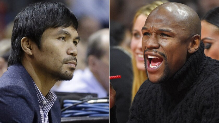 It appears Manny Pacquiao, left, and Floyd Mayweather Jr. have not signed anything yet for the long-anticipated fight.
