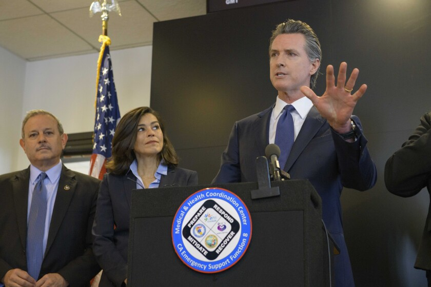 California Governor Gavin Newsom speaks at a news conference