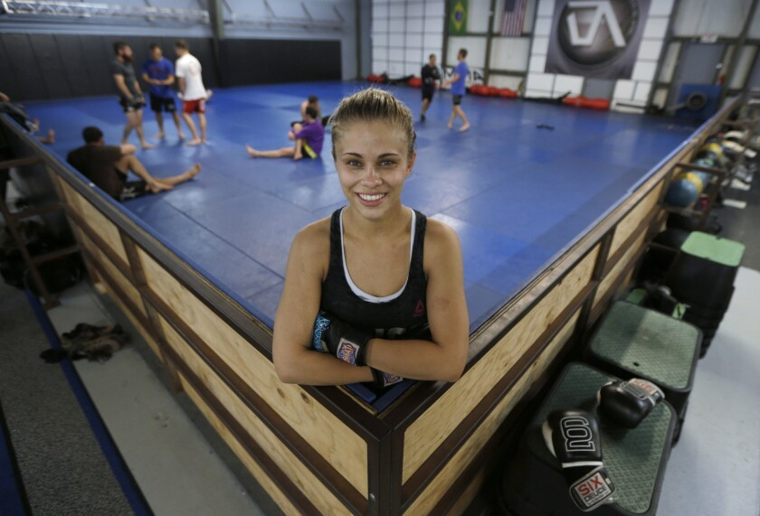 UFC fighter Paige VanZant poses after her workout at the Ultimate Fitness gym in Sacramento.