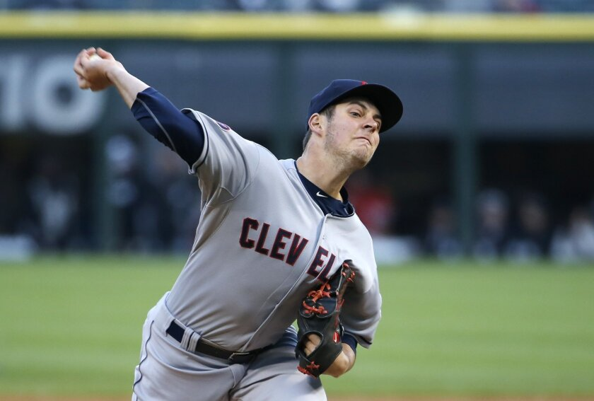 Cleveland Indians starting pitcher Trevor Bauer delivers during the first inning of a baseball game against the Chicago White Sox Tuesday, May 19, 2015, in Chicago. (AP Photo/Charles Rex Arbogast)