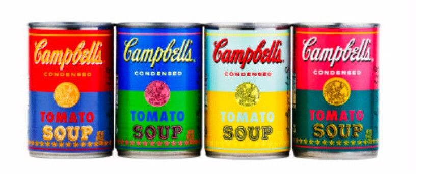 """Campbell's is launching a limited edition of Andy Warhol-themed tomato soup. The new line of cans is in honor of the 50th anniversary of the artist's 1962 """"32 Campbell's Soup Cans."""""""