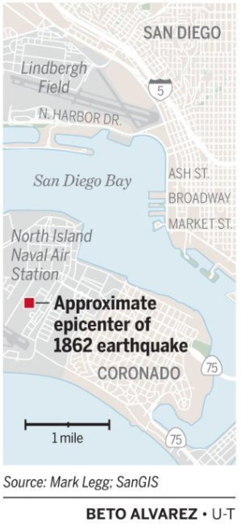 Approximate epicenter of 1862 quake.