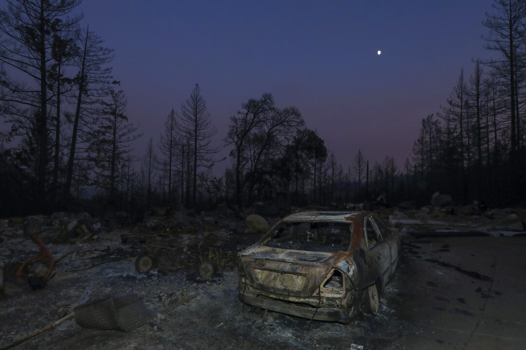 Charred remains of a structure lost to the fire at the CZU Lightning Complex on Pinecrest Drive in Boulder Creek, California.