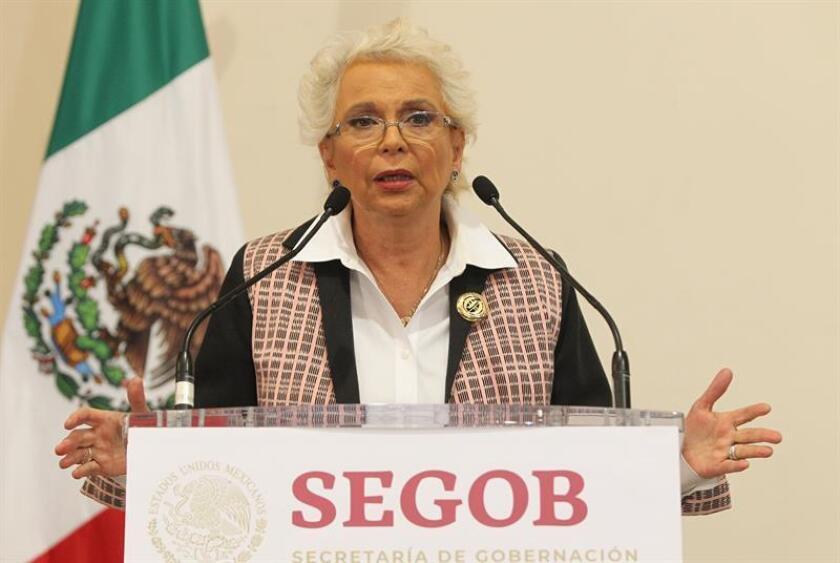La secretaria de Gobernación, Olga Sánchez Cordero, habla durante una rueda de prensa en Ciudad de México (México). EFE/Archivo