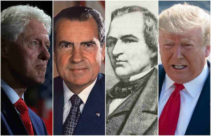 From left are U.S. Presidents Bill Clinton, Richard Nixon, Andrew Johnson and Donald Trump.