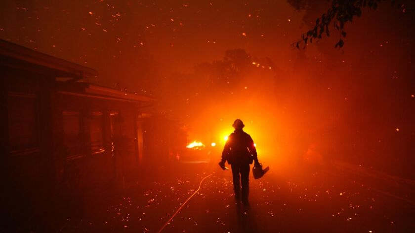 MALIBU, CA - NOVEMBER 9, 2018 - - The Woolsey fire burns homes in Malibu on November 9, 2018. (Genar