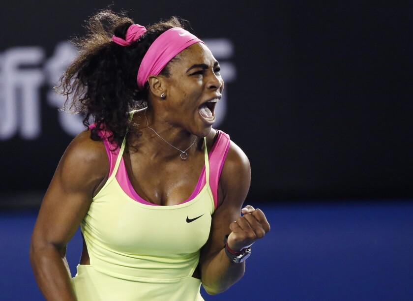 Serena Williams reacts after winning a point against Maria Sharapova in the Australian Open final on Jan. 31, 2015.