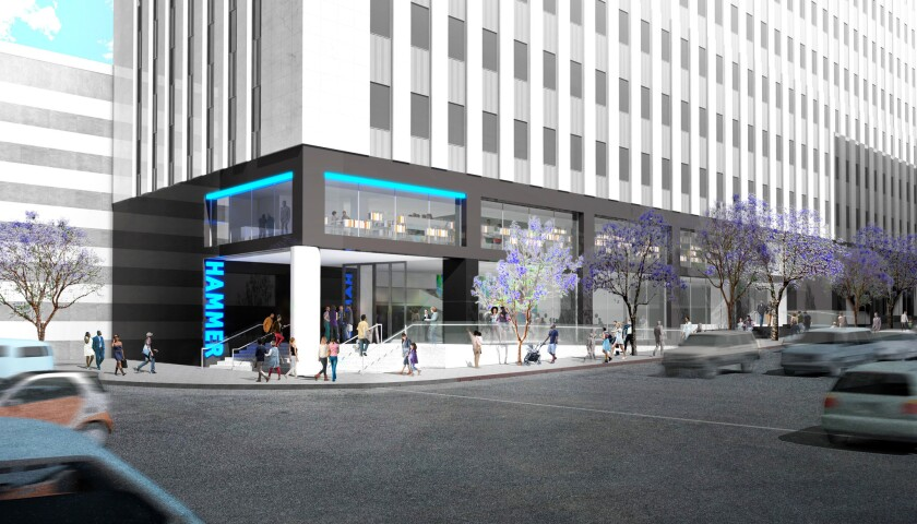The proposed new entry at the corner of Wilshire and Westwood boulevards, at the base of the Occidental Petroleum tower.