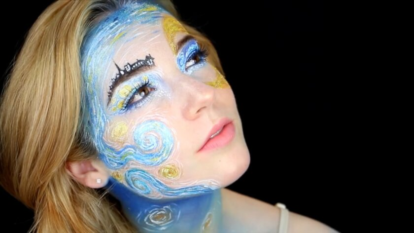 """Erin Timony of La Costa shown with her self-applied """"Timeless Beauty"""" makeup design, which helped her make it into the finals for the NYX FACE Awards on Aug. 22."""