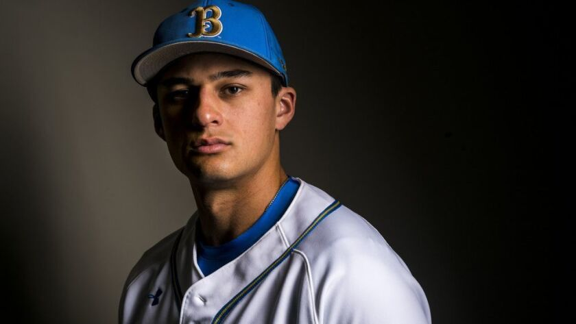 LOS ANGLES, CALIF. - FEBRUARY 08: UCLA Bruin infielder Chase Strumpf poses for a portrait at UCLA's