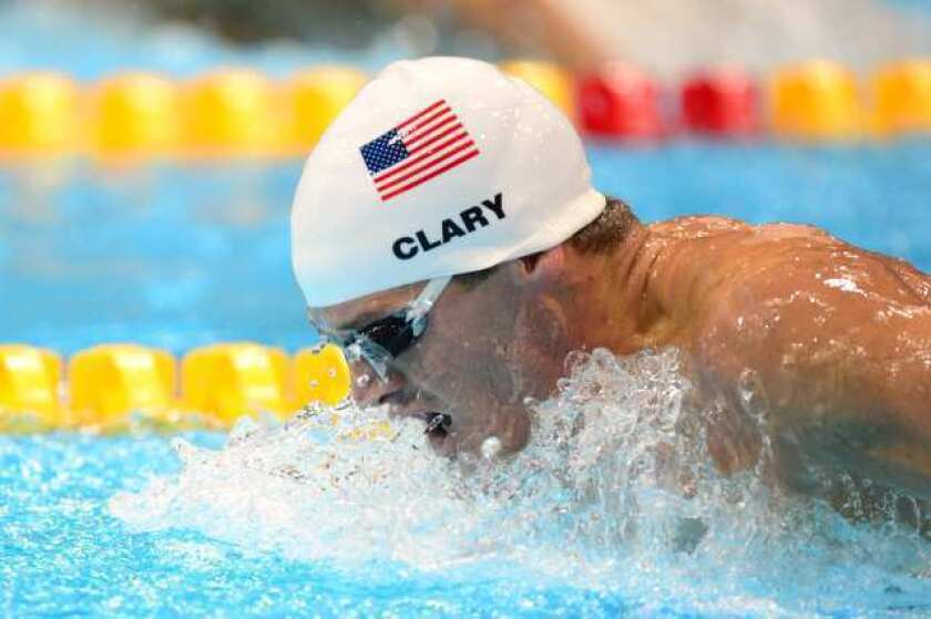 Tyler Clary competes in the men's 200-meter butterfly heats.