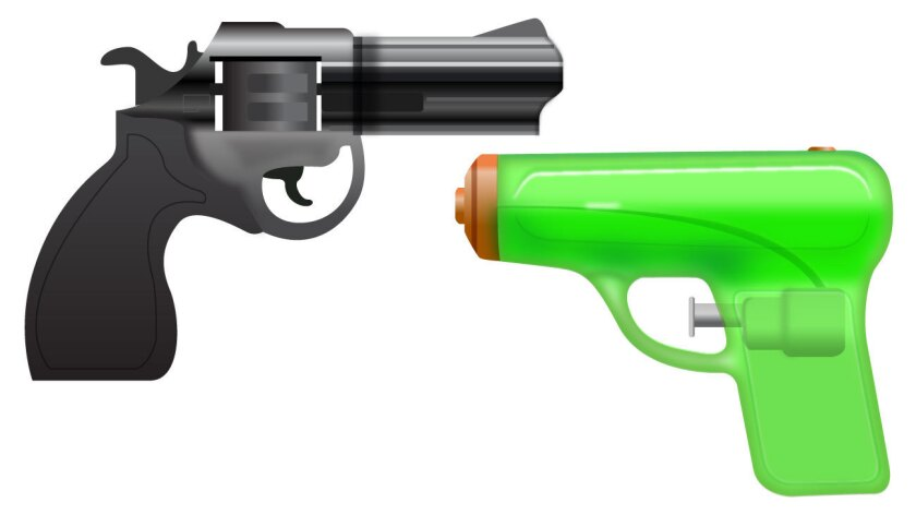 A ​green​ squirt gun like the one in this illustration will replace the pistol in Apple's emoji library.
