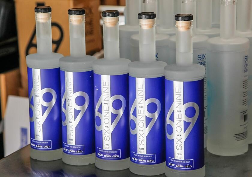 Bottles of 619 Vodka at 619 Spirits Distillery and Tasting Roomin North Park.