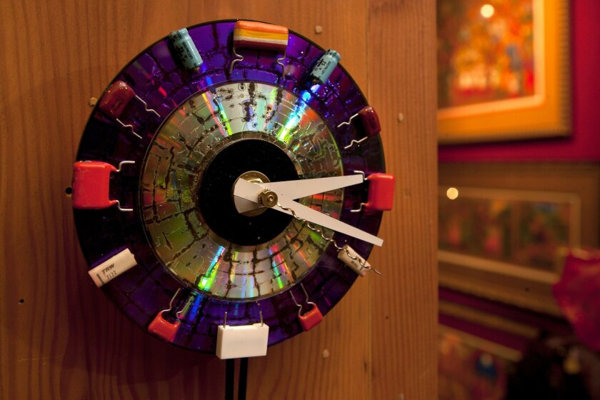 A clock made from old computers parts by Cynthia Goldner at The Gallery in Bazaar del Mundo in San Diego.| Bill Wechter/ [Union-Tribune file]