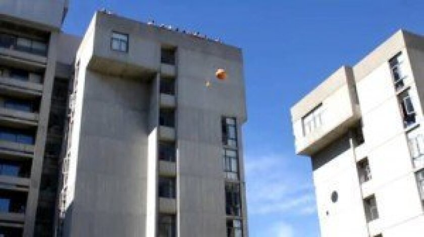 the 39th annual UC San Diego monster Pumpkin Drop will take place 12:30 p.m. on Thursday, Oct. 31 at the 11-story Tioga Hall. File