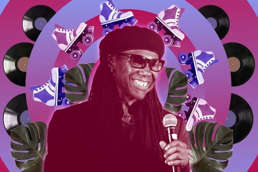 Nile Rodgers is surrounded by roller skates, records and monstera leaves in a colorful graphic.