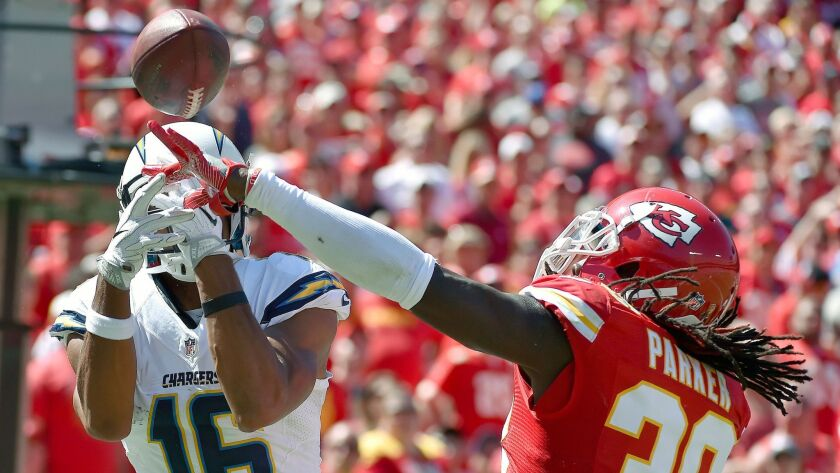 Chiefs safety Ron Parker tips a pass away from San Diego Chargers wide receiver Tyrell Williams in the end zone in the third quarter on Sunday, Sept. 11, 2016 at Arrowhead Stadium in Kansas City, Mo. (John Sleezer/Kansas City Star/TNS) ** OUTS - ELSENT, FPG, TCN - OUTS **