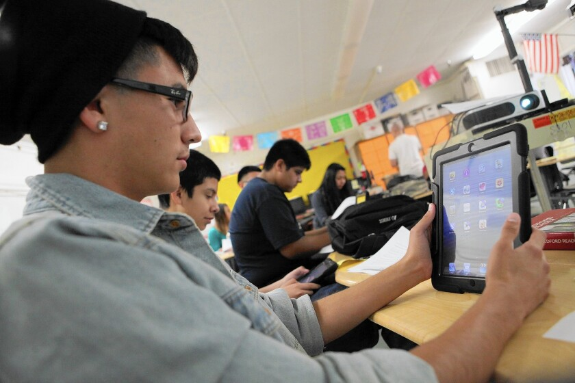 Students at Theodore Roosevelt High School received iPads as part of LAUSD's iPad program.