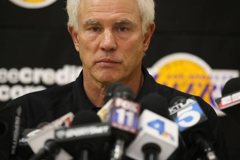 Lakers general manager Mitch Kupchak talks to the media.