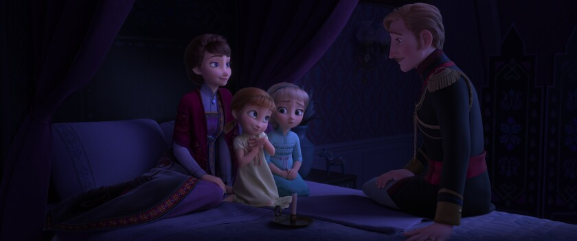 "In Walt Disney Animation Studios' ""Frozen 2,"" Queen Iduna (voice of Evan Rachel Wood) and King Agnarr (voice of Alfred Molina) share an epic story with Young Anna (voice of Hadley Gannaway) and Young Elsa (voice of Mattea Conforti) about an enchanted forest and the potential danger that lingers."
