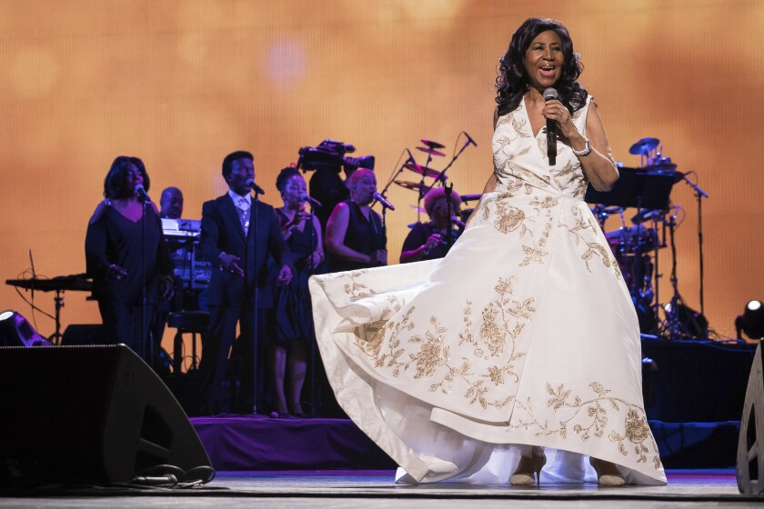 """Aretha Franklin performs at the world premiere of """"Clive Davis: The Soundtrack of Our Lives"""" at Radio City Music Hall, during the 2017 Tribeca Film Festival in New York."""