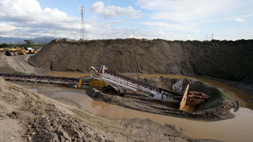 LOS ANGELES, CALIF. - JAN. 24, 2017. A large basin is under construction at the Tujunga Spreading G