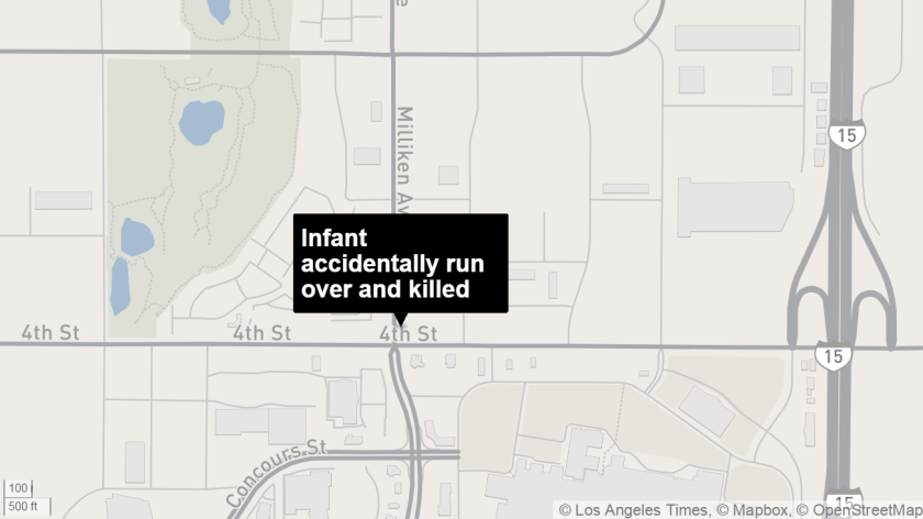 An infant was accidentally run over and killed by vehicle after slipping out of mother's hands in Rancho Cucamonga, deputies said.