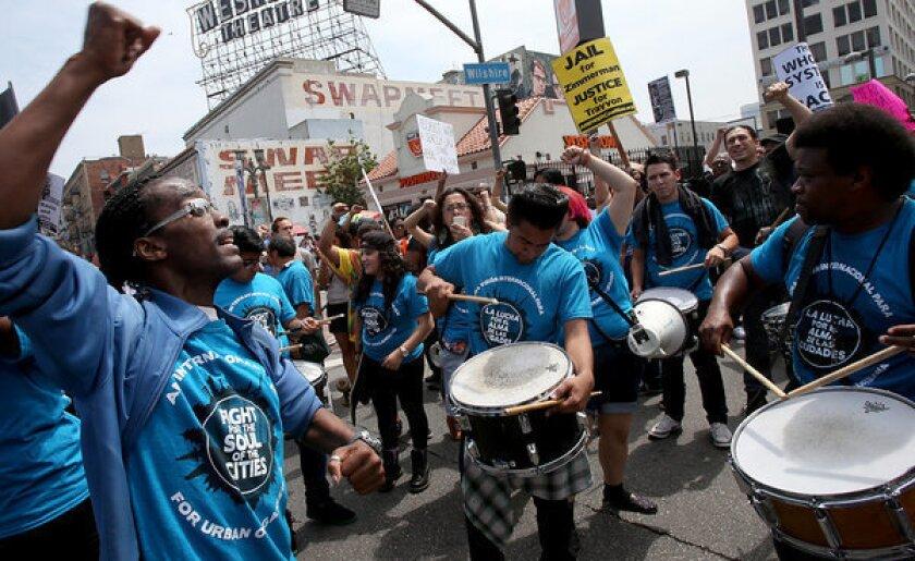 LA drumming group participates in a Justice For Trayvon Martin protest.