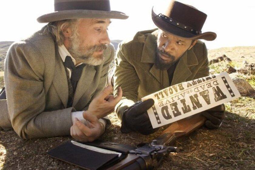 "Christoph Waltz, left, and Jamie Foxx play bounty hunters in Quentin Tarantino's ""Django Unchained."""