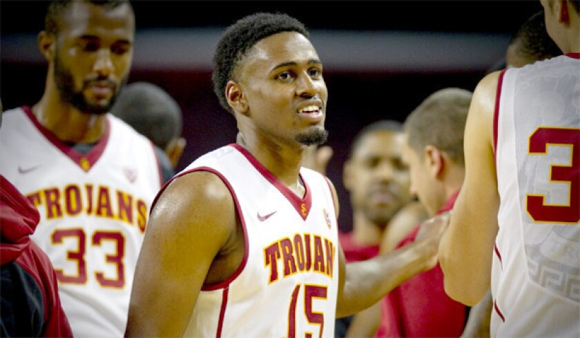 USC guard Brendyn Taylor stands in a team huddle during a Trojans scrimmage at Galen Center on Oct. 27.