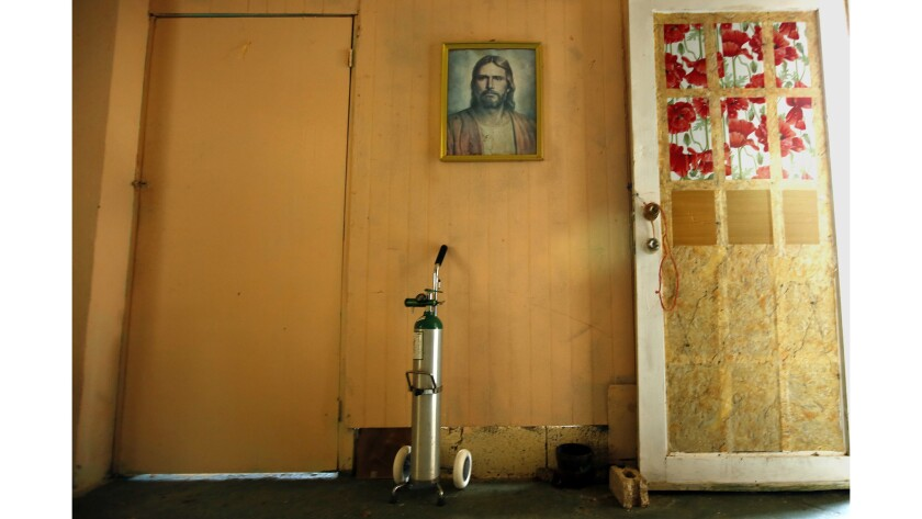 Hermenegildo Cotte Melendez, 96, died because there was no electricity for his oxygen tank, shown here, during Hurricane Maria.(Carolyn Cole / Los Angeles Times)