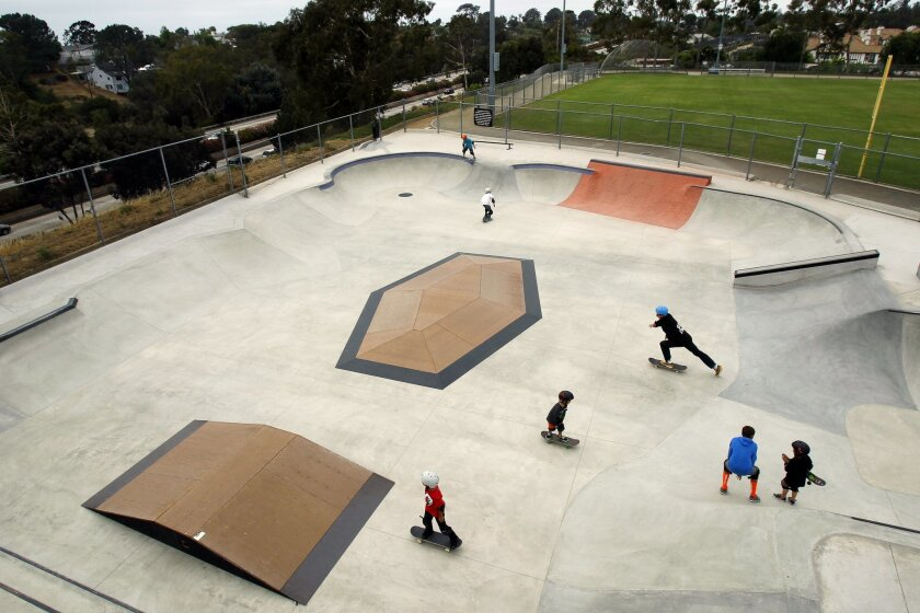 Meeting the recreational needs of children: Two years ago, the Magdalena Ecke Family YMCA skatepark in Encinitas was remodeled with a cement street course.