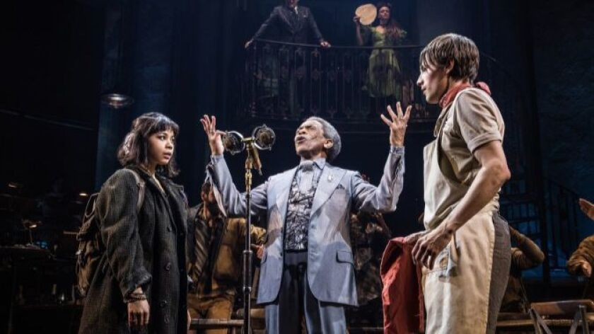 "Andre De Shields, flanked by Eva Noblezada and Reeve Carney, in ""Hadestown"" at the Walter Kerr."
