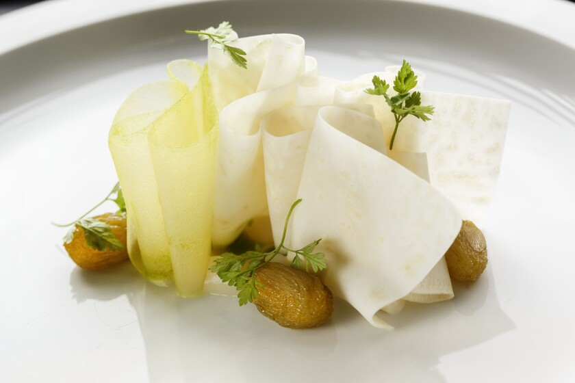 Celery root, chartreuse raisins and chervil at Maude.