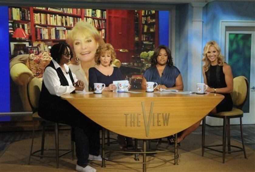 "FILE - In this July 12, 2010 publicity image released by ABC, Barbara Walters is shown on screen via Skype as co-hosts, from left, Whoopi Goldberg, Joy Behar, Sherri Shepherd and Elisabeth Hasselbeck are shown during a broadcast of ""The View,"" in New York. (AP Photo/ABC, Jeffrey Neira)"