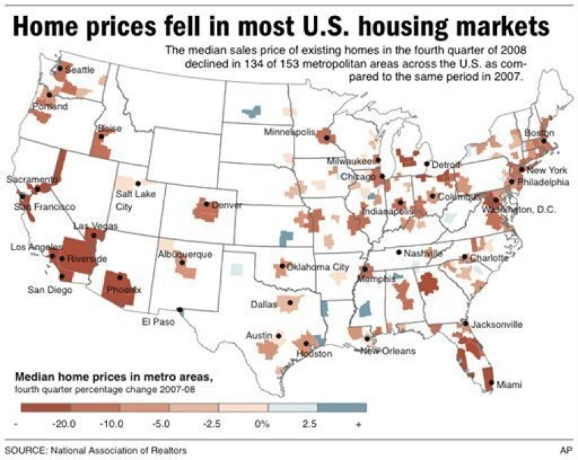 Map shows percentage change in home prices